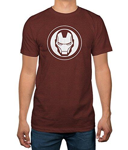 Iron Man Logo Men's Brick Red T-Shirt (Large, Iron Man)