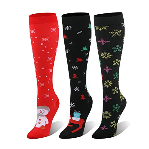 Compression Socks For Women & Men - 20-25mmHg - 1 to 4 Pairs Stockings for Running, Athletic,Varicose Veins, Travel (Christmas Style, Small/Medium)]()