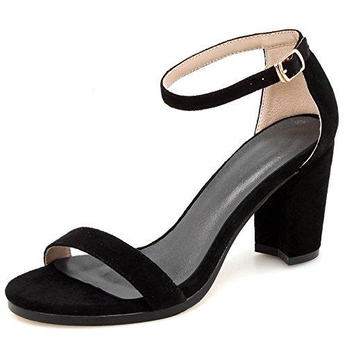 YMFIE Señoras del Verano Sexy Moda Temperamento Abierto Dedo del pie tacón Grueso con Sandalias de Correa de Tobillo Tacones Altos A