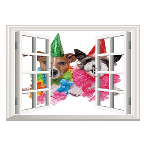 SCOCICI Removable 3D Windows Frame Wall Mural Stickers/Birthday Decorations for Kids,Baby Dogs Terriers with Floral Chaplet Party Cones Image,Multicolor/Wall Sticker Mural