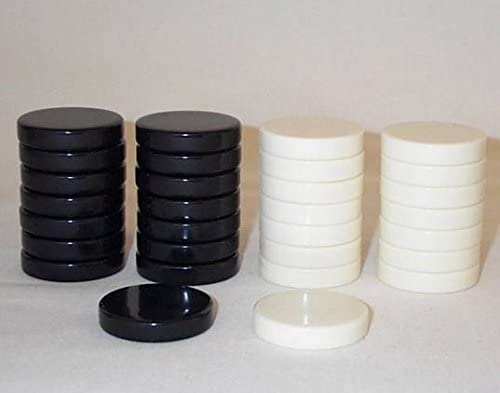 Replacement Checker Pieces Only 1 1//4 Inch Khan Imports Black and Cream Checkers