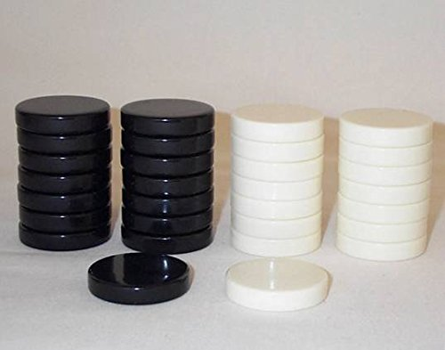 Khan Imports Black and Cream Checkers, Replacement Checker Pieces Only - 1 1/4 Inch by Khan Imports