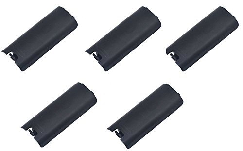 Games&Tech 5 x Black Replacment Battery Cover for Nintendo Wii Controller Remote