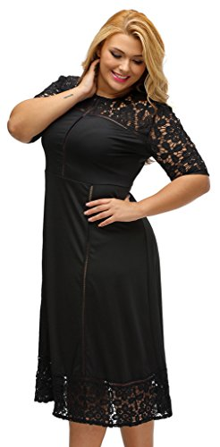 EOZY Robe Noir Femme Transparent Cérémonie Grand Taille Dentelle Soirée