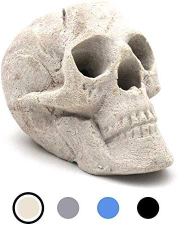 OSKER Ceramic Fireproof Fire Pit Skull Log for Bonfire, Campfire, Fireplace, Firepit Halloween Decor for Gas, Propane, or Wood Fires 9 Inch – Light Beige