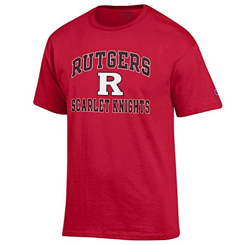 (Champion NCAA Men's Shirt Short Sleeve Officially Licensed Team Color Tee, Rutgers Scarlet Knights, Large )