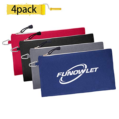Utility Bag, Canvas Zipper Tool Bags, 4 Pack 12.5-Inch Heavy Duty Metal Zipper Tool Pouch with Carabiner, Multi-Purpose Organizer Clip-on Tote Bag in Blue, Black, Gray, Red by FunOwlet