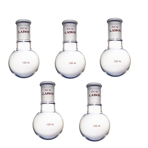 Laboy HMF010312L Glass Single Neck Round Bottom Boiling Flask 100 mL with 24/40 Joint (Pack of 5) ()