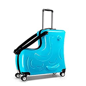 The Latest Children's Suitcase,Trojan Horse Suitcase ,Unisex Travel Tots Kids Trunk (Blue, 20 inch)