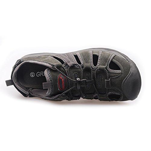 Cinturino Regolabili Scamosciata GRITION L'Estate Sandali Regolabile in da con Sandali Bagno Sandali per Grey Pelle da Uomo S8q7wfxSv