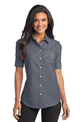 Port Authority L659 Women's Short Sleeve SuperPro Oxford Shirt Black - Oxford Outlet Store