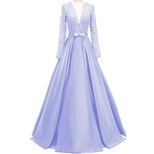 Women's Deep V-Neck Beaded Prom Dress Lace Evening Formal Dress with Long Sleeves