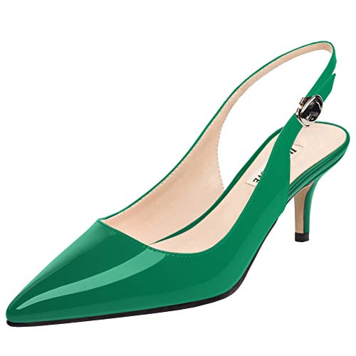 June in Love Women's Kitten Heels Pumps Pointy Toe Slingback Sandals Shoes for Usual Daily Wear (7 US, Green)