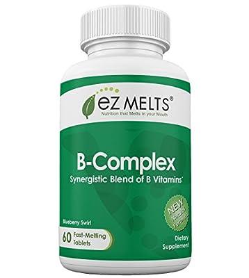 EZ Melts B-Complex, Fast Melting Tablets, All Natural Blueberry Flavor, B-Vitamin Blend Chewable Vitamin Supplement