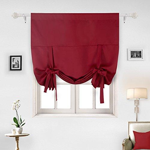 Deconovo Solid Color Rod Pocket Blackout Curtains Kids Room Darkening Curtains Crimson Red 46W x 63L One Panel