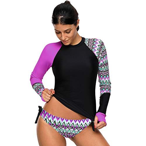 (Summer Clothes Simayixx Women Long Sleeve Color Block Print Rash Guard Tankini Swimsuit Blouses Tops + Shorts Thong Set)