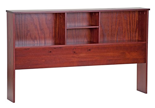 """Palace Imports 2542 100% Solid Wood Kansas Bookcase Headboard, Mahogany Color, 36""""H x 59.5""""W x 9""""D, 1 Shelf Included. Full Mate's Bed Sold Separately. Requires Assembly"""