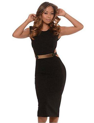 PU&PU Robe Aux femmes Moulante Vintage,Couleur Pleine Col Arrondi Au dessus du genou Polyester , black-l , black-l