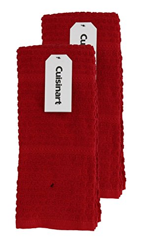 Cuisinart Kitchen, Hand and Dish Towels - Premium 100% Cotton Terry, Red – Soft, Absorbent, Quick Drying and Machine Washable Tea Towels - Washboard Design, Set of 2, 16 x 26 Inches
