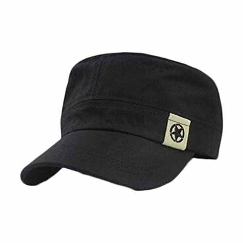 Flat Roof Military Hat USA Military Style Distressed Washed Cotton Cadet Army Caps (Black)