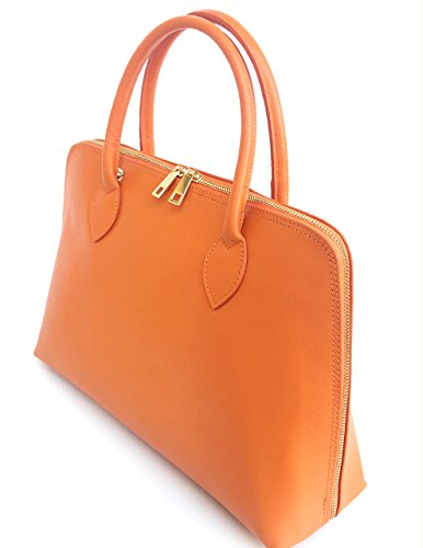 Model Saffiano cuir en main Fabriqué en Sac SUPERFLYBAGS véritable Orange A4 Format CIRC à Italie Axqwg0YppZ