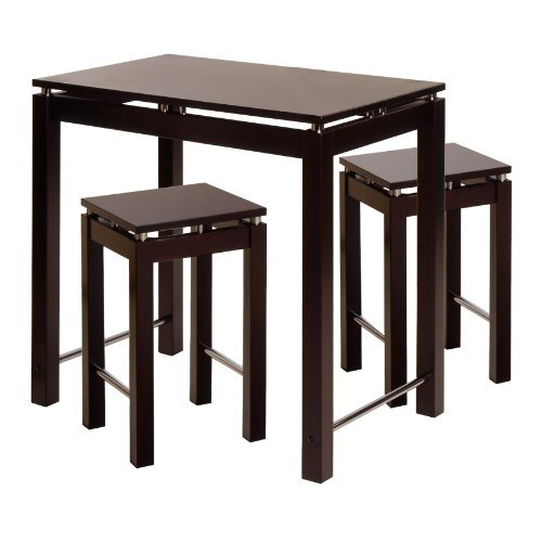 Winsome Linea Pub Kitchen Set Island Table with 2 Stools, 3-Piece - Linea Kitchen Island