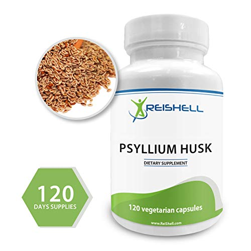 ReiShell Psyllium Husk Capsules 750 mg – High Potency Fiber Supplement – Good for Healthy Digestion, Constipation and Weight Loss – 120 Vegan Capsules