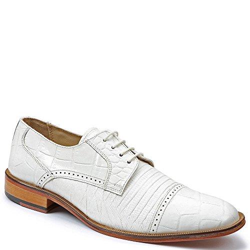 Giorgio Brutini Men's Cap Toe Blucher Oxfords,White,11 - Toe Cap Blucher