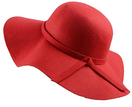 Wool Hat Large Red Brim (Urban CoCo Women's Foldable Wide Brim Felt Bowler Fedora Floopy Wool Hat (red))
