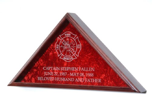 Firefighter Burial Flag Display w/ engraved Maltese Cross - for 5'x9.5' Funeral flag - INCLUDES 3 LINES OF TEXT PERSONALIZATION! - Solid Oak w/Cherry ()