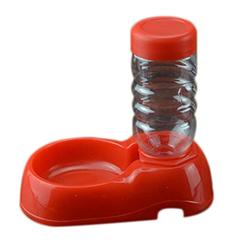 Freerun Pet Dogs Cats Travel Water Drinking Fountain Bowl Bottle Pets Feeder Bowl (Red)