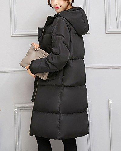Impermeable Espesar Parka Acolchado Mujer Con Abrigo Manga Negro Para Larga Capucha wxwEnRW