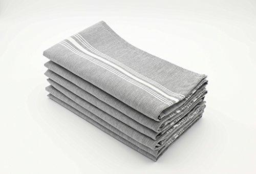 (Milliken Signature Stripe Polyester Chambray Black (Charcoal) Napkins (Set of 6) 18