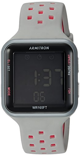 Armitron Sport Unisex 40/8417PGY Pink Accented Digital Chronograph Grey Perforated Silicone Strap Watch