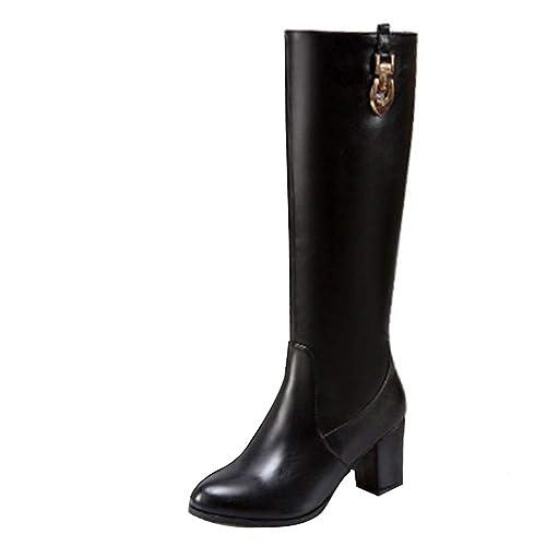 Uirend Zapatos Botas Mujer - Altas de Invierno Boots de Tacón Alto de Tubo Plano Botines: Amazon.es: Zapatos y complementos