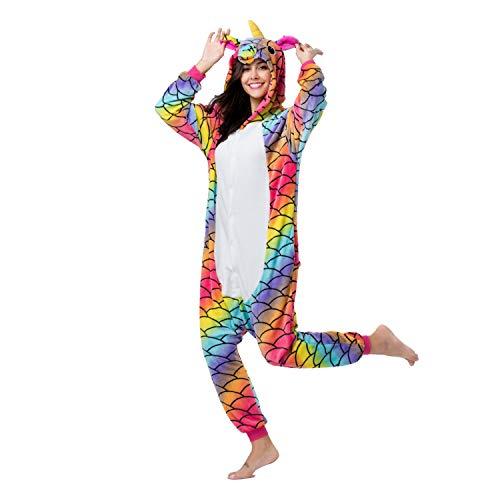 RONGTAI Adults Unisex Animal Flannel Unicorn Onesie Pajamas Cosplay Costume(L,Mermaid Unicorn)]()