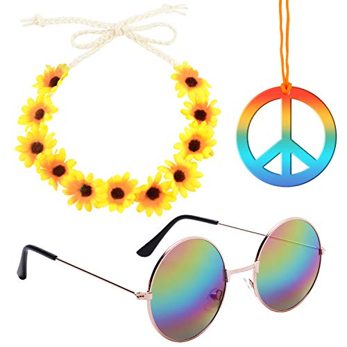 - Sunshane Hippie Costume Accessory Set Includes 1 Pair of Hippie Sunglasses, 1 Piece Rainbow Peace Sign Necklace and 1 Piece Flower Crown Headband