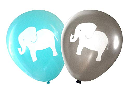 Nerdy Words Elephant Balloons (16 pcs) (Grey & Aqua) by Nerdy Words