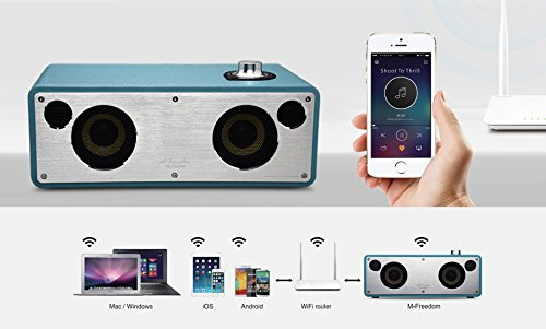 GGMM M-Freedom Wireless Plug-n-Play Built-in WiFi Home Audio Leather Speaker (Compatible with Apple Products)| 30W Output, Supports Airplay, DLNA, Spotify, Pandora (Tan) by GGMM (Image #2)