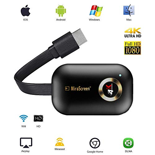 4K HDMI Wireless Display Receiver HD, Portable TV Display Adapter Airplay DLNA TV Stick for Android/Mac/iOS, Mini WiFi Display Receiver Share 1080P HD Video Audio/Picture/Live Camera/Music fro (Stick Android Hdmi)