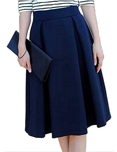 Eyekepper Jupe Longueur Genou Femme Demoiselle Taille Haute de Belle Couleur Fete Dance Party Cocktail Bleu Marine