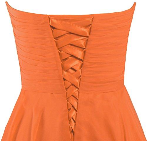 Abiti Da Sweetheart Chiffon Arancione Breve Donne Sposa Formiche Abito Damigella Da Partito D'onore BwO6dq