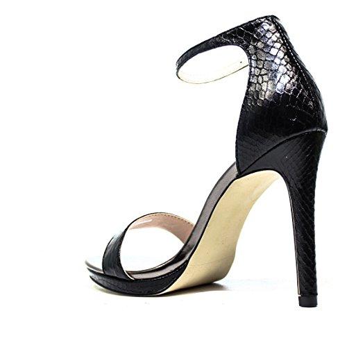 Gaudì Sandale talon haut avec python en cuir noir Réf. V63-64589P Serpent Métal Blk Nouveau et Hot Spring Summer 2016 V63 64589P