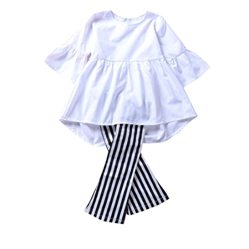 1-4T-Toddler-Girl-Kid-2pcs-Sets-Flare-Sleeve-Dress-Tops-and-Stripe-Print-Pants-Outfit