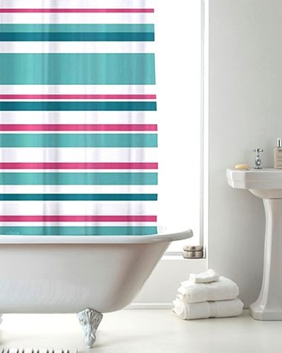 Stylish Modern PEVA Stripes Striped Moroccan Bathroom Shower Curtain With Rings Turquoise Pink