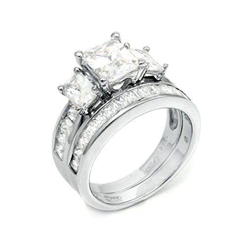 2 ct Radiant cut Past Present Future Bridal Wedding ring designer Set 925 Silver Cut Past Present