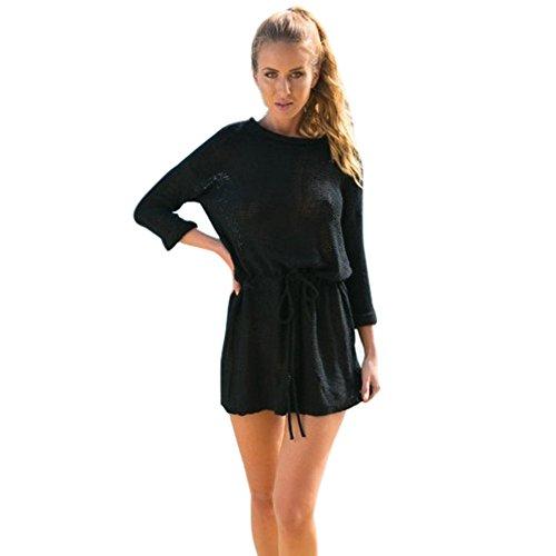 Women Cotton Blend Round Neck Long sleeve Mini Black Loose Sweater Dress Waist knit dress (L)