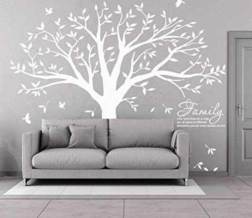 MAFENT Family Tree Wall Decal Quote- Family Like Branches On A Tree Lettering Tree Wall Sticker for Bedroom Decoration (White) by MAFENT (Image #7)