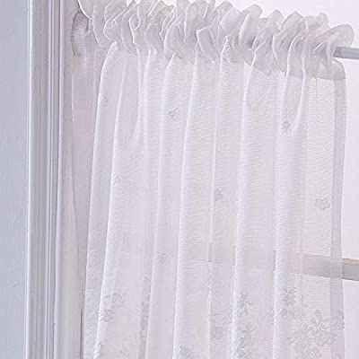 GXOK Lace Curtains, Woven Textured Valance for Bathroom Water Repellent Window Covering (White): Sports & Outdoors
