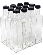 Clear Glass Quadra Bottles, 250ml (8.5 Fl Oz) - Case of 12 by nicebottles